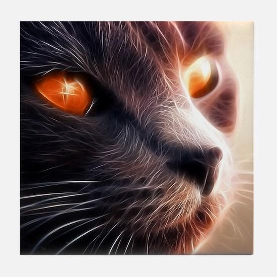 Fractal cat on bright lights Tile Coaster