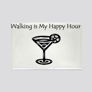 Walking is My Happy Hour B/W Rectangle Magnet