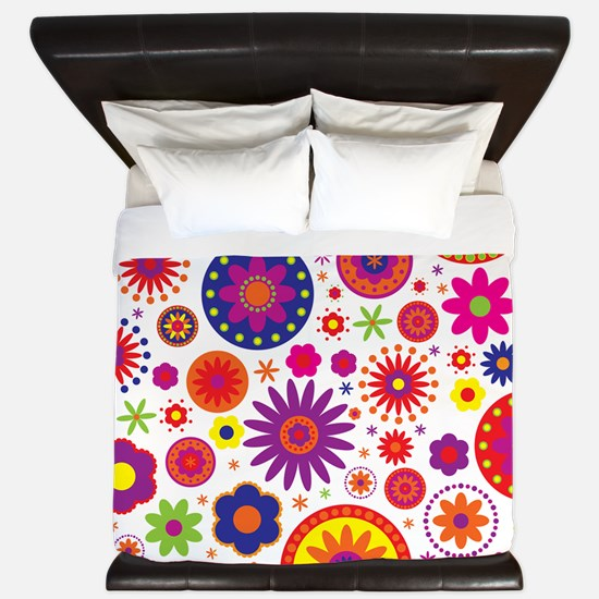 Hippie Rainbow Flower Pattern King Duvet