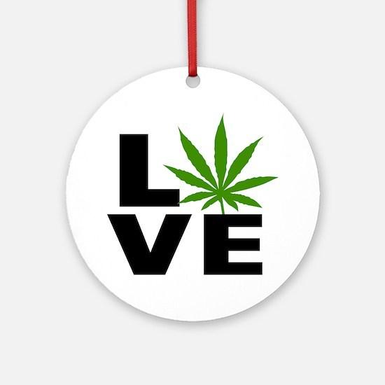 I Love Marijuana Round Ornament