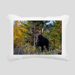 Moose in ditch 2 11x17 p Rectangular Canvas Pillow
