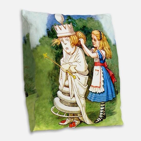 Alice  WHITE QUEEN_SQ Burlap Throw Pillow