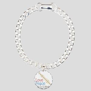 Love Peace Dulcimer Charm Bracelet, One Charm