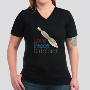 Love Peace Dulcimer Women's V-Neck Dark T-Shirt
