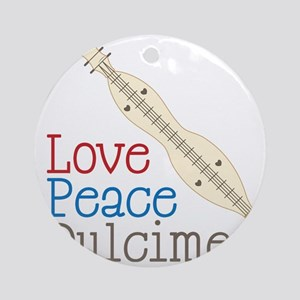 Love Peace Dulcimer Round Ornament