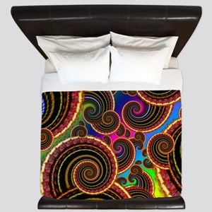 Funky Rainbow Swirl Pattern King Duvet