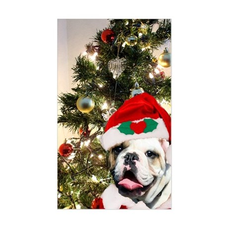 Christmas bulldog Sticker (Rectangle)