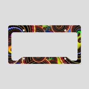 Funky Rainbow Swirl Pattern License Plate Holder