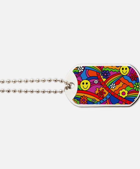 Hippie Smiley Face Rainbow and Flowers Pa Dog Tags