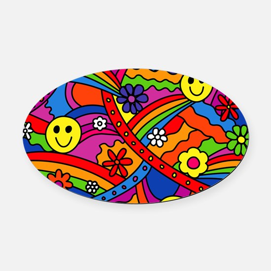 Hippie Smiley Face Rainbow and Flo Oval Car Magnet