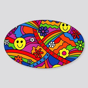 Hippie Smiley Face Rainbow and Flow Sticker (Oval)