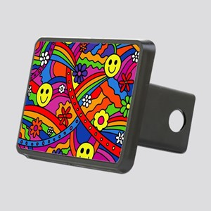 Hippie Smiley Face Rainbow Rectangular Hitch Cover