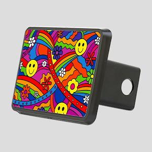 Hippie Smiley Face Rainbow Rectangular Hitch Cover
