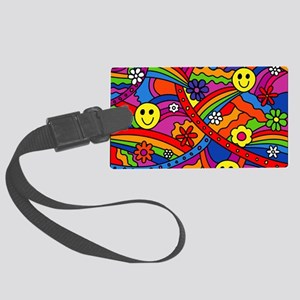 Hippie Smiley Face Rainbow and F Large Luggage Tag