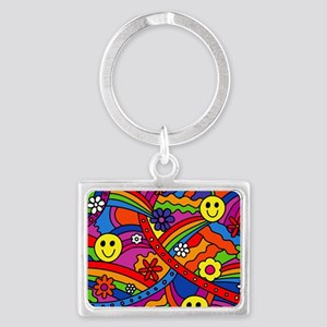 Hippie Smiley Face Rainbow and  Landscape Keychain