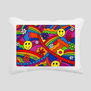 Hippie Smiley Face Rainb Rectangular Canvas Pillow