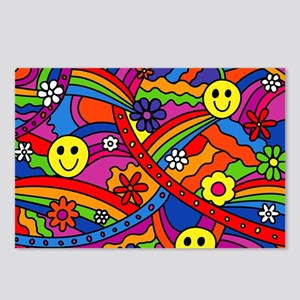 Hippie Smiley Face Rainbo Postcards (Package of 8)