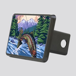 Mountain Trout Fisherman Rectangular Hitch Cover