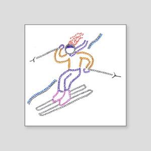 "skiing-ArtinJoy Square Sticker 3"" x 3"""