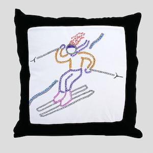 skiing-ArtinJoy Throw Pillow