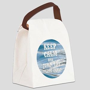 Keep Calm And Jump the Fence agai Canvas Lunch Bag