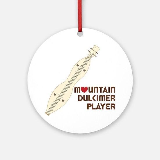 Mountain Dulcimer Player Round Ornament