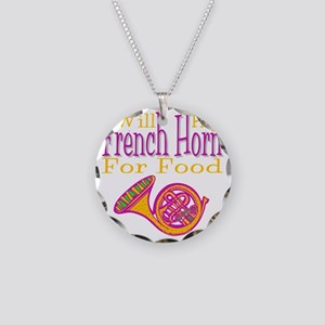 Will Play French Horn Necklace Circle Charm