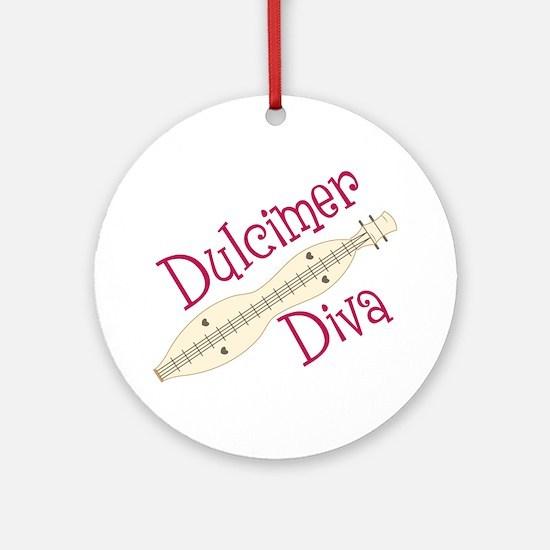 Dulcimer Diva Round Ornament