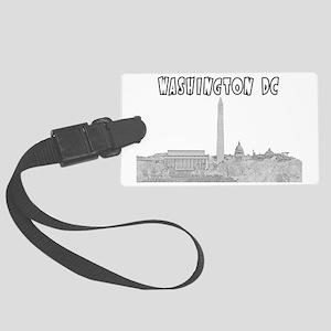 WashingtonDC_Rectangle_Black Large Luggage Tag