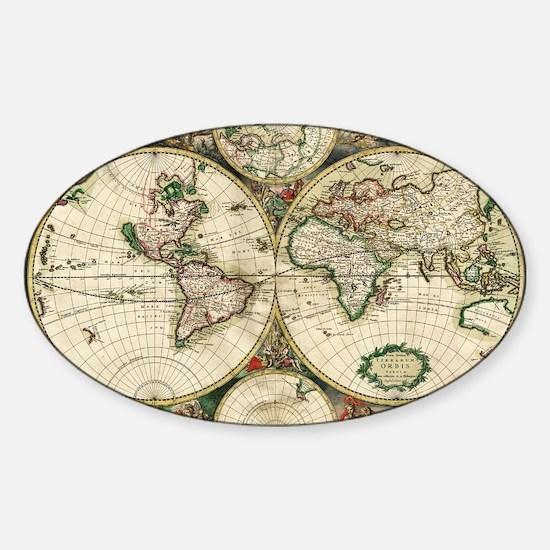 Vintage Map Sticker (Oval)