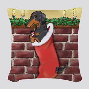 BT Dachshund Xmas Stocking Woven Throw Pillow