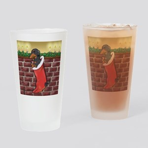 BT Dachshund Xmas Stocking Drinking Glass