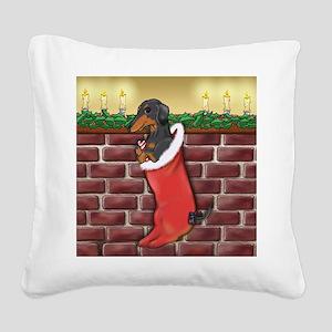 BT Dachshund Xmas Stocking Square Canvas Pillow