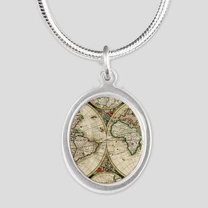 Vintage Map Silver Oval Necklace