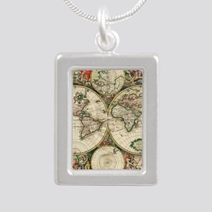 Vintage Map Silver Portrait Necklace