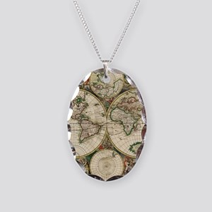 Vintage Map Necklace Oval Charm