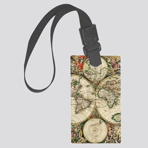 Vintage Map Large Luggage Tag