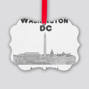 WashingtonDC_10x10_Skyline1_Black Picture Ornament