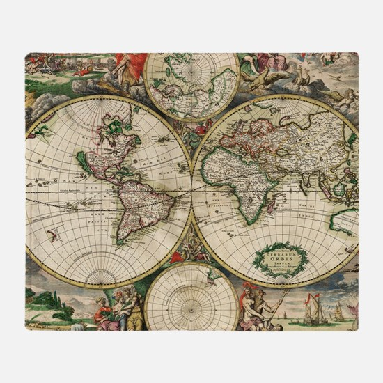 Vintage Map Throw Blanket