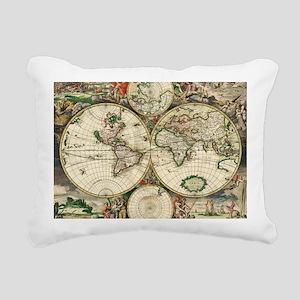 Vintage Map Rectangular Canvas Pillow