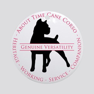 About Time Cane Corso Logo Round Ornament