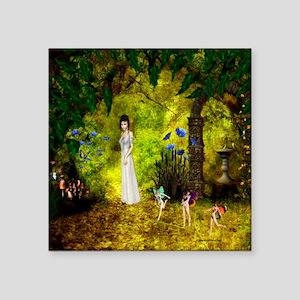 """Visit to the Fairiy Garden Square Sticker 3"""" x 3"""""""