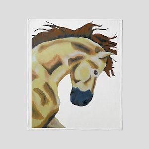 White Stallion Painting Throw Blanket