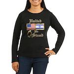 US & Israel United Wmns Lng Slv Dark T