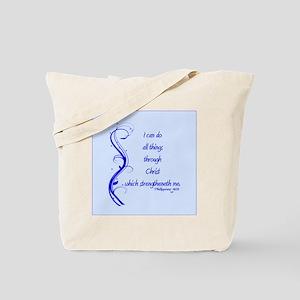 Philippians 4 13 Blue Vines Tote Bag
