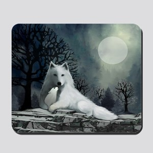 White Wolf and Pup Mousepad