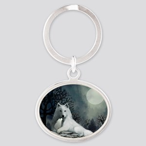 White Wolf and Pup Oval Keychain