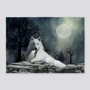 White Wolf and Pup 5'x7'Area Rug
