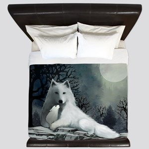 White Wolf and Pup King Duvet