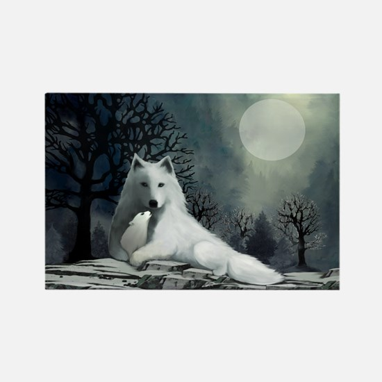 White Wolf and Pup Rectangle Magnet
